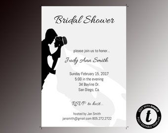Bridal shower invitation, bridal shower invitation template, wedding template, bridal shower, editable, formal, black and white