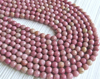faceted Rhodonite beads, 8mm rhodonite, pink rhodonite beads, full strand, pink gemstone beads, beads for malas, necklace beads, mala beads