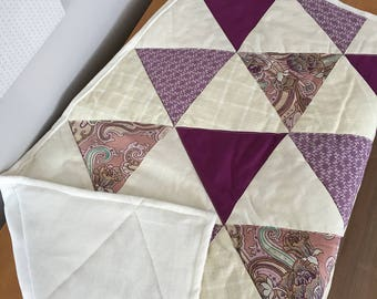 Quilt for baby, violet/cream triangles
