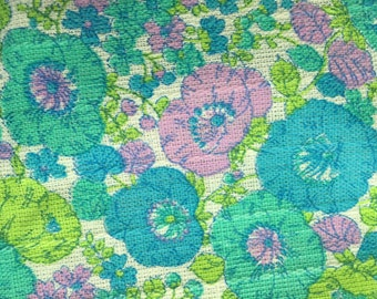 Mod 60s Floral Cotton Upholstery Fabric Vintage Flower Power Material 3+ Yards