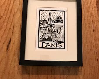 Paris Linocut Block Print