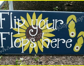Flip your flops here, summer sign, remove your shoes, pool beach decor, front door-porch shoe sign, beach house rental decor