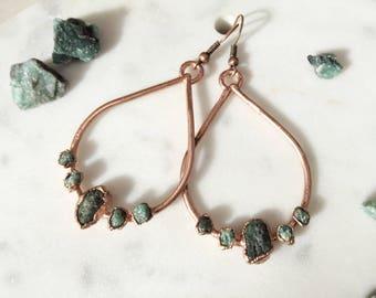 Raw Emerald Drop Earrings