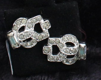 SO# 1071 Vintage Silver Tone Clear Crystal Rhinestone Clip On Earrings