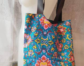 Canvas with printed fluo shoulder bag