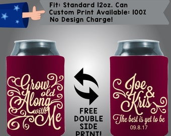 Grow Old Along With Me Names Date Collapsible Fabric Wedding Cooler Double Side Print (W141)