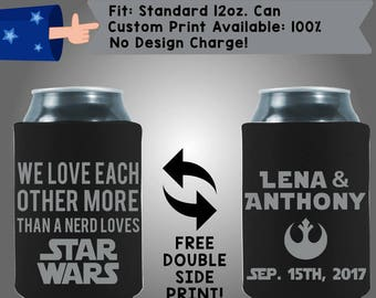 We Love Each Other Nerd Love Collapsible Fabric Wedding Can Coolers Cheap Can Coolers Wedding Favors (W299)