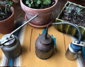 Vintage Oil Cans, Thumb Oilers, Farmhouse Decor, Petroliana