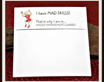 Funny Post-It Notes, I Have Mad Skills Post-It Notes, Anger Management Post-It Notes, Humorous Note Pads, Office Humor, Gag Gift, Novelty
