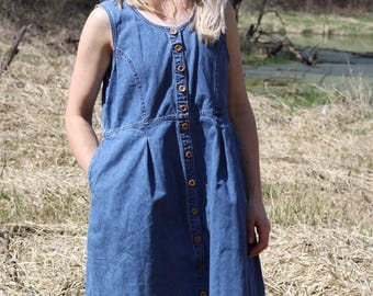 Vintage Denim Dress Sleeveless Jean Sundress Button Up NORTHERN REFLECTIONS Mini Shift Medium