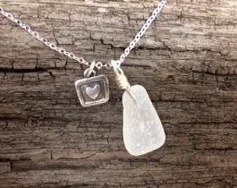 Lake Erie Beach Glass Charm with Sterling Silver Heart Charm Necklace