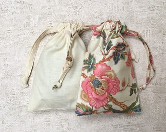 unique Kit 2 smallbags ivory and pink fabric to mattresses and silk - 1 size - cotton bags and silk