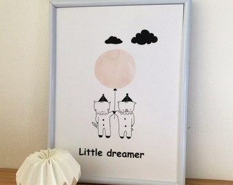 "Graphic poster for children ""Choumi and Michou :little dreamer"" - graphic design poster."