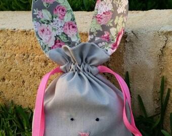 Grey pink floral easter bunny bag