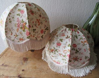 Matching pair vintage pendant light shades ceiling light shade tassels fringe famille rose fabric domed lamp shade green pink yellow floral