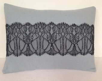 Grey melton wool cushion with French lace and crystals.