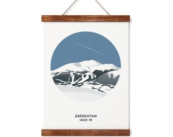 Åreskutan Mountain Print, Sweden Mountain print, Sweden Skiing, A4 Print, Gifts for him or her