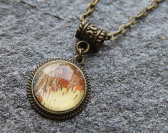 Necklace with pendant photo and glass cabochon