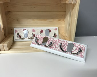 Hand Decoupage Wooden Hooks Emma Bridgewater or Cath Kidston Style