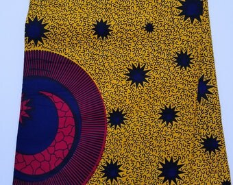 Yellow, Red And Black African Fabric; Ankara Fabric; African Clothing; African Fabric in yard; African Headwrap;Ankara; Yellow Fabric