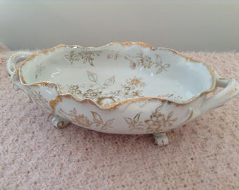 Vintage Candy/Nut Dish, White with all gold trim and flowers