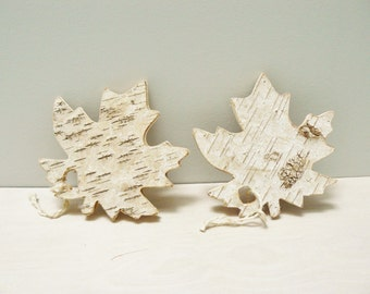 Maple Leaf Birch Wooden Set of 2 Natural Rustic Home Decor Ornaments Handmade