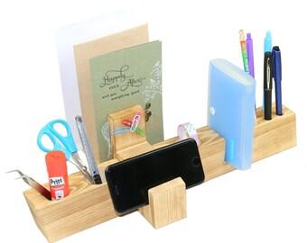 Handmade Wood Desktop Organizer / Office Desktop Organizer