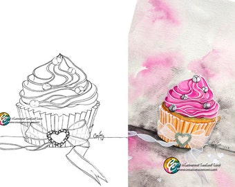 printable coloring page : cupcake love