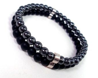 Onyx and Hematite Double Bracelet, Men Bracelet, Mens Gift,Mens Bracelet,Gift for Men,Men Gemstone Bracelet,Bracelet for Men,Beaded Bracelet