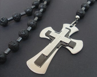 Volcano Lava and Hematite Mens Rosary, Cross Necklace for Men, Stainless Steel Cross,Mens Cross Necklace,Men Gemstone Rosary,Men Lava Rosary