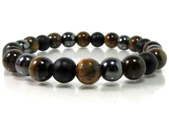 Onyx,Hematite and Tiger Eye Bracelet, Men Bracelet, Mens Gift,Mens Bracelet,Gift for Men,Men Gemstone Bracelet,Bracelet for Men,Gift for Him