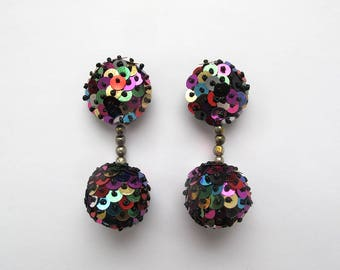 Absolutely fabulous 80's Vintage earrings, Disco ball earrings, Mixed Sequin and bead clip ons