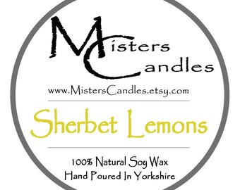 Sherbet Lemons - 8oz 100% Natural Soy Wax Scented Candle - 30 hour burn time. Birthday Present, Gift for her