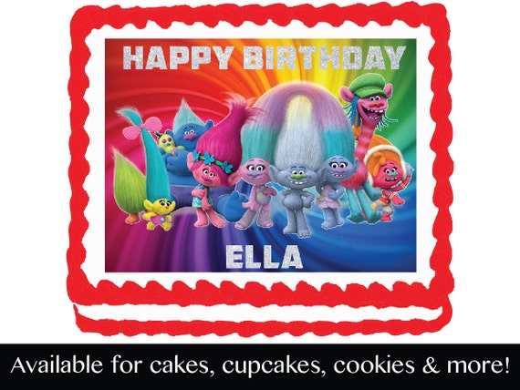 Personalized Trolls Edible Cake Frosting Sheet
