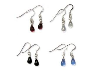Czech glass tear drop earrings (multiple colours)