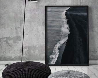 Black Coastline II Art Print, Black Coast,Black Sands,Dark Ocean, Coastal, Scandinavian Art,Wall Decor, Digital Print,Art,Downloadable Print