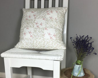 SALE Pink bird cushion, pink rambling rose, patchwork quilted cushion-cover