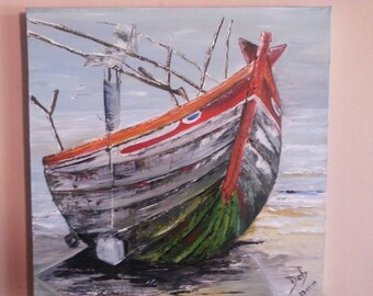 Wooden Ship Oil Painting
