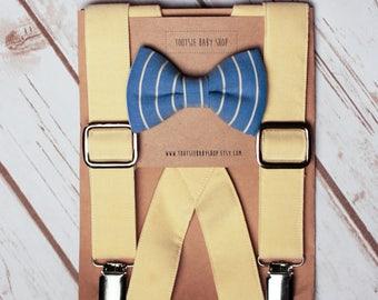 Baby Blue/Yellow Bow Tie & Suspender Set