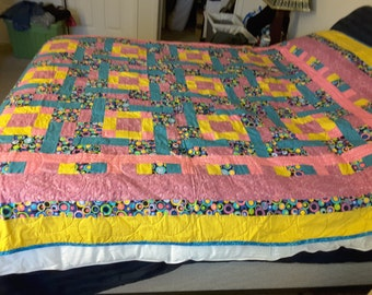 Yellow, Pink and Blue Queen Size Quilt