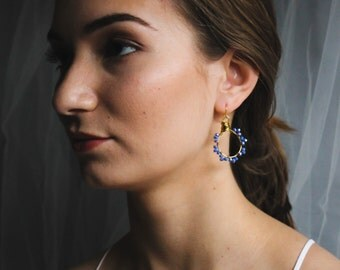 Periwinkle Blue Beaded Wire Wrapped Hoop Earrings
