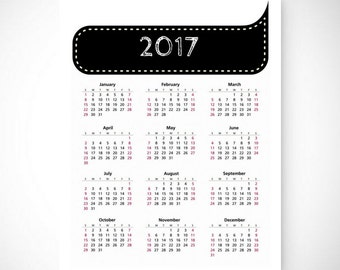 Printable 2017 Wall Calendar, 8.5x11 in, Desk Calendar, Instant Download, Black and White, Printable