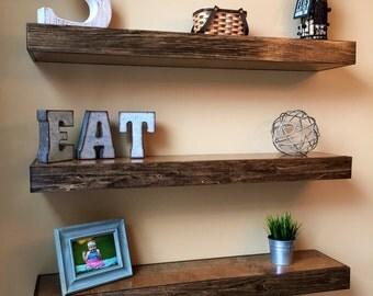 """Wood Floating Shelf 48"""", Custom Wood Shelves, Handmade Shelf, Floating Shelf, Mantel, Fireplace, Home Decor, Long Shelf, On Wall"""