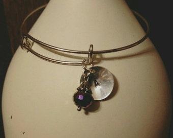 Stamped initial bangle bracelet