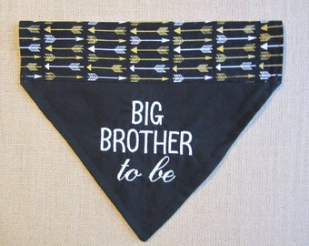 Reversible Big Brother to be  dog bandana/Reversable black with gold and white arrows Over the collar bandana/New Baby announcement/