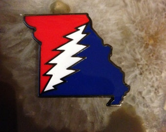 "HAT PIN: Grateful Dead X Missouri X Lightning Bolt - Limited Glow in the Dark Edition! ""Steal MO Faces"""