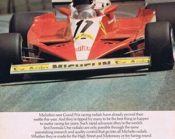 1970s Michelin Radials Ferrari Grand Prix Advertising Retro Magazine Ad Racing Cars Auto