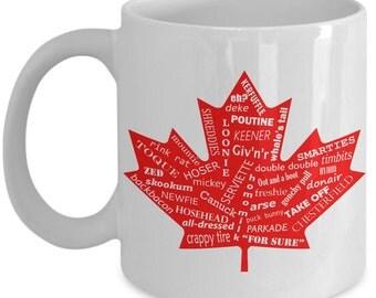 Canada Coffee Mug - Canadian Mug - Funny Coffee Mug - Maple Leaf - Gift For Her - Gift For Him - White Mug - Great White North - Under 20