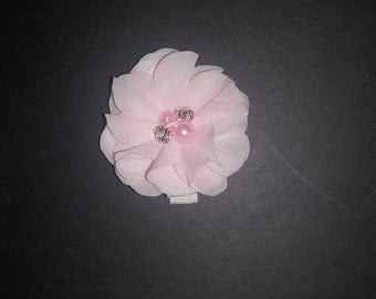 Pink chiffon flower on a clip