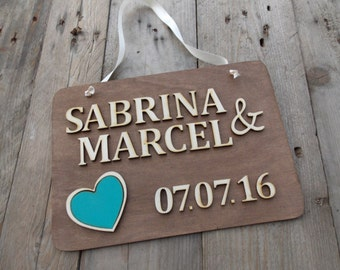 Wedding sign with name and date - wedding  / heart